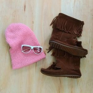Slouchy Pink Vintage Chunky Knit Stocking Cap